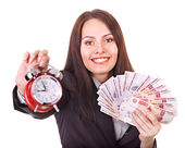 Woman with money .Russian rouble. — Stock Photo