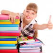 Child with stack of books and showing thumb up. — Photo
