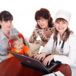 Stock Photo: Doctor with stethoscope and family.