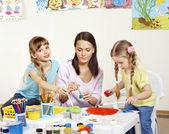 Child painting in preschool. — Stock Photo