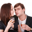 Couple of girl and man kiss and drink wine. — Stock Photo #8676962
