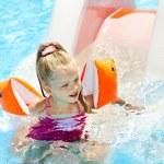 Child on water slide at aquapark. — Stock Photo #9068706
