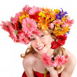 Young woman with  with flowers on her  hair. — Stock Photo