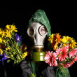 Young woman  in gas mask . - Stock Photo