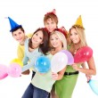 Group of young in party hat. — 图库照片