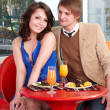 Couple on date in restaurant. — Стоковое фото