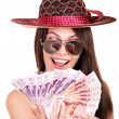 Woman with money Russian rouble. — Stock Photo #9078375