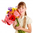Happy child holding flowers. — Stock Photo #9079169