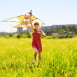 Stock Photo: Child flying kite outdoor.