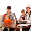 Doctor with stethoscope and family. — Stock Photo #9079252