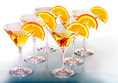 Group glass with alcohol drink martini. — Stock Photo