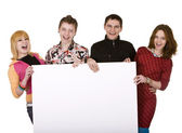 Banner und gruppe junger — Stockfoto