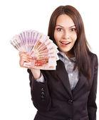 Mulher com dinheiro. rublo russo. — Foto Stock