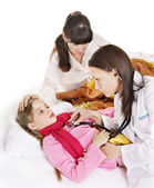 Doctor exams child with stethoscope. — Stock Photo