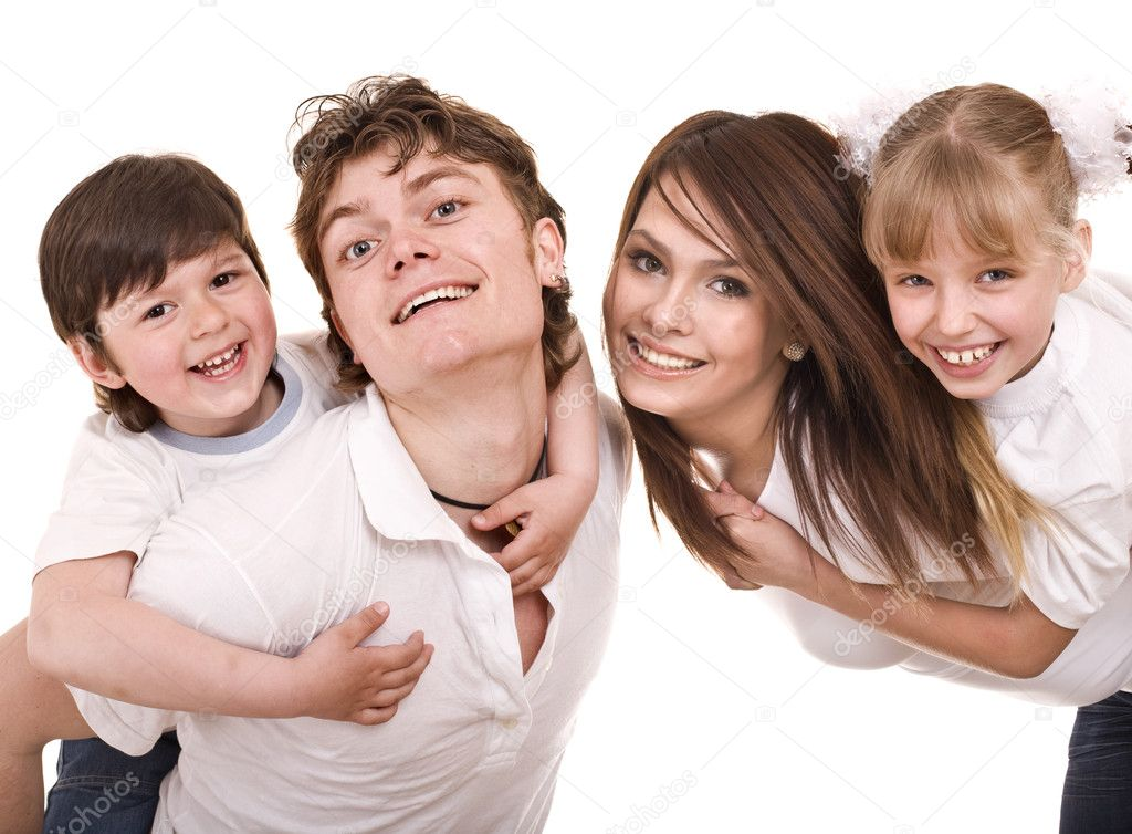 Happy family upbringing children. Isolated — Stock Photo #9076019