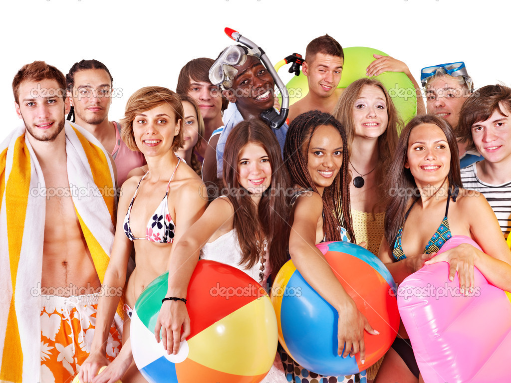 Group holding beach accessories. Isolated.  Stock Photo #9077456