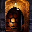 Barrel of wine in winerry. - Stock Photo