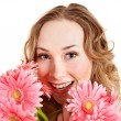 Happy young woman holding flowers. — Foto Stock