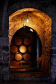 Barrel of wine in winerry. — Stock Photo