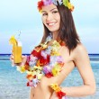 Stock Photo: Young womin costume of hawaii.