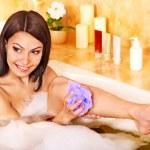 Woman take bubble bath. — Stock Photo #9301425