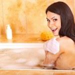 Woman take bubble bath. — Stock Photo #9301428