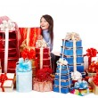 Girl with group gift box . — Stock Photo
