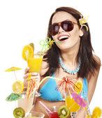 Girl in bikini on beach. — Stock Photo