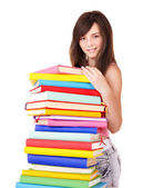 Girl with pile color book . — Foto de Stock
