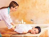 Massage of woman in beauty spa. — Stock Photo