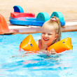 Child on water slide at aquapark. — Stock Photo #9497756