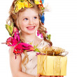 Child with gift box. — Stock Photo #9497816
