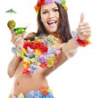 Young woman in costume of hawaii. — Stock Photo #9504531