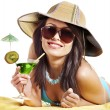 Girl in bikini drink juice through straw. — Stock Photo