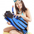 Girl wearing diving gear. — Stock Photo