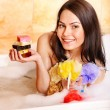 Woman take bubble  bath. — Stockfoto