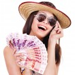 图库照片: Woman with money .