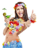 Young woman in costume of hawaii. — Stock Photo