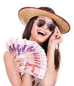 Woman with money . — Stock Photo