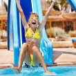 Child on water slide at aquapark. — Foto Stock