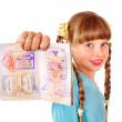 Child holding passport. Foreign vacation. — Stock Photo #9512962