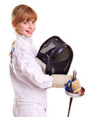 Child in fencing holding epee . — Стоковое фото