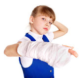 Disabled child with broken arm. — Stock Photo