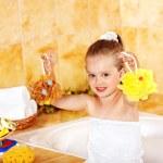 Child washing in bubble bath . — Stock Photo #9862198