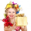 Child with gift box. — Stock Photo