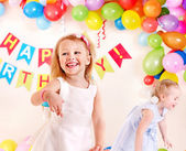 Child birthday party with girl. — Stock Photo