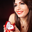 Stock Photo: Girl with jewellery gift box.