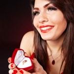 Girl with jewellery gift box. — Stock Photo #9870702