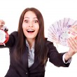 Woman with money (Russian rouble). — Stock Photo #9870949