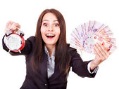 Woman with money (Russian rouble). — Stock Photo
